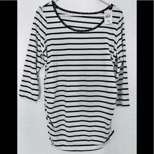 Motherhood Maternity Large Black White Striped Top